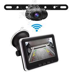 Wireless Backup Camera Monitor Kit,IP68 Waterproof Rear View