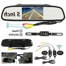 "Wireless Backup Reverse Camera & 5"" Monitor Car Rear View Sy"