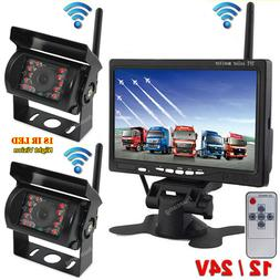 "Wireless Dual Backup Camera 7"" Monitor RVs Truck Harvester H"