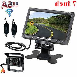 Wireless IR Rear View Backup Camera Night Vision System +7""