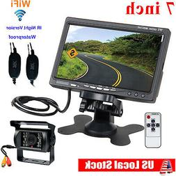 "Wireless IR Rear View Backup Camera Night Vision System +7"""