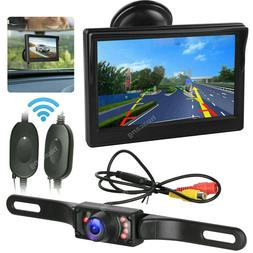 "Wireless License Plate Backup Rear View Camera and 5"" Monito"