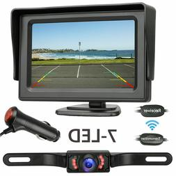 "Wireless Rear View Backup Camera Night Vision System+4.3"" Mo"