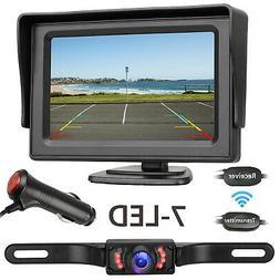 "Wireless Rear View Backup Camera Night Vision System+4.3"" Mo"