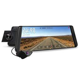 "AUTO-VOX X2 Mirror Dash Cam with 9.88"" Streaming Media 1296P"